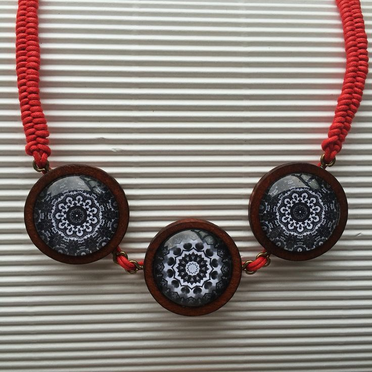 Black & white Mandala necklace with red fishtail plait