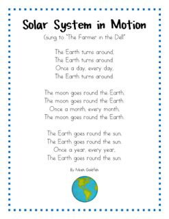 Mrs. Wills Kindergarten: Space Songs for learning about the Solar System