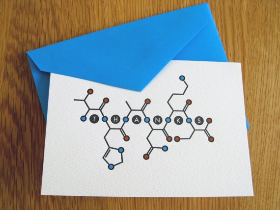 Thank You cards denoting amino acid sequence for THANKS