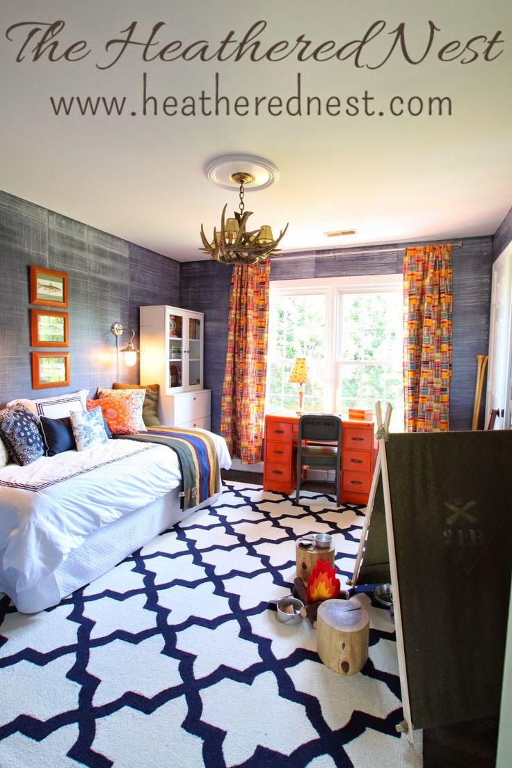 Amazing bedroom re-do for a boy who loves camping! So many great ideas here from the denim-look painted walls, to the daybed nestled between bookcases and the orange desk! A Space for Sweet Cheeks | The Heathered Nest
