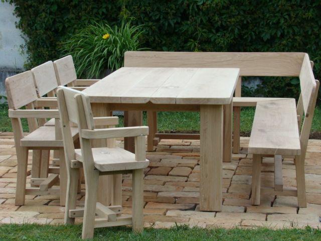 Gartengarnitur gerade mit Eckbank und 4 Stuhle3