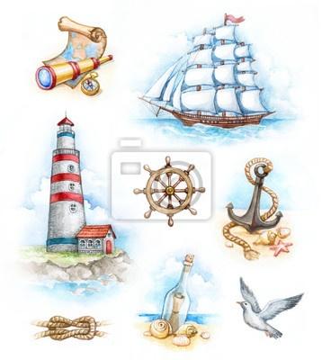 ilustraciones-de-acuarelas-marinas-ancla