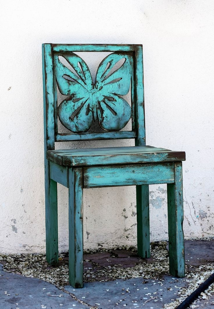 Custom Made Blue Butterfly Chair Indoor Outdoor Wooden Chair With A Distresse