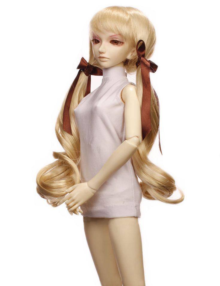 Wigs2dolls.com 人形・ドールウィッグ通販専門店 Doll Wig Online Store  W-652  大きなリボンでかわいいドールをもっと可愛く! ツインテールスタイルのロング巻き髪ウィッグです♪ #Blythe #BJD #SD #SuperDofflie #Wig #Cosplay #Halloween #Fashion #Wedding #Hair #ヘア #ブライス