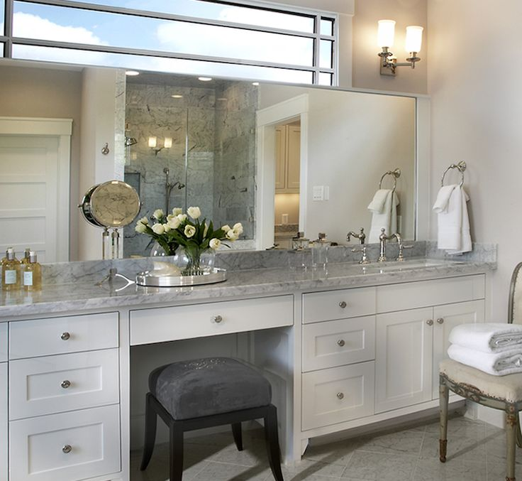 Growing Up My Grandma Had A Vanity With A Chair White Bathroom