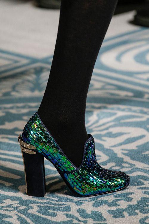 iridescent shoe with stacked heel