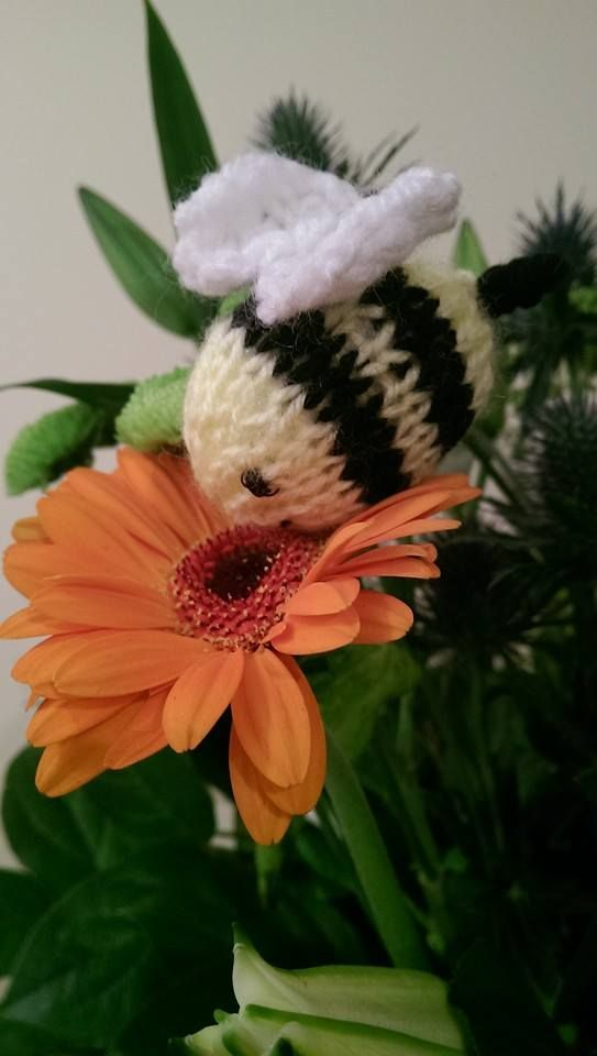 Stopping to smell the flowers! Cute hand knitted Bumble Bee