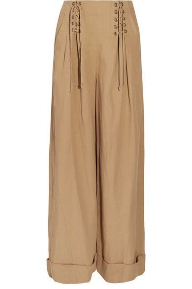 Ulla Johnson - Gaucho Pleated Broadcloth Wide-leg Pants - Light brown - US10