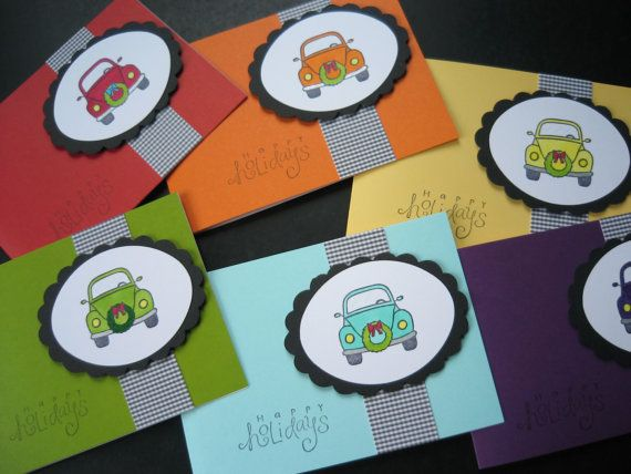 Christmas Cards Holiday Cards VW Beetle Set of 6 by apaperaffaire, $12.00: Christmas Cards, Cards Sets, Crafts Cards, Cards Vw, Holiday Cards, Cards Holidays, Holidays Cards