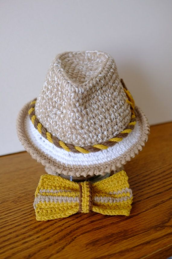 4edf7e1a663 Baby Fedora Hat and Bow Tie Set Newborn Photography Props ... ➤. Free  Crochet ...