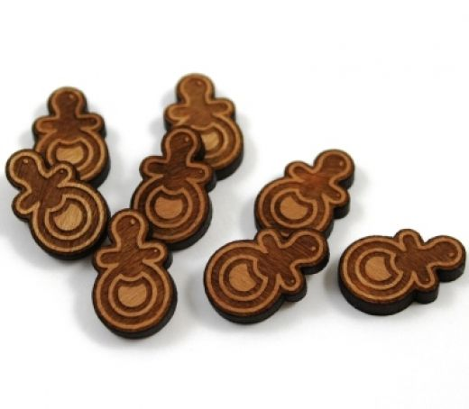 8 Pieces. Baby Dummy Charms -Mixed Laser Cut Wood Pacifier Shape -Earring Supplies- Laser Cut Supplies- Little Laser Lab Sustainable Wood Products | littlelaserlab.com