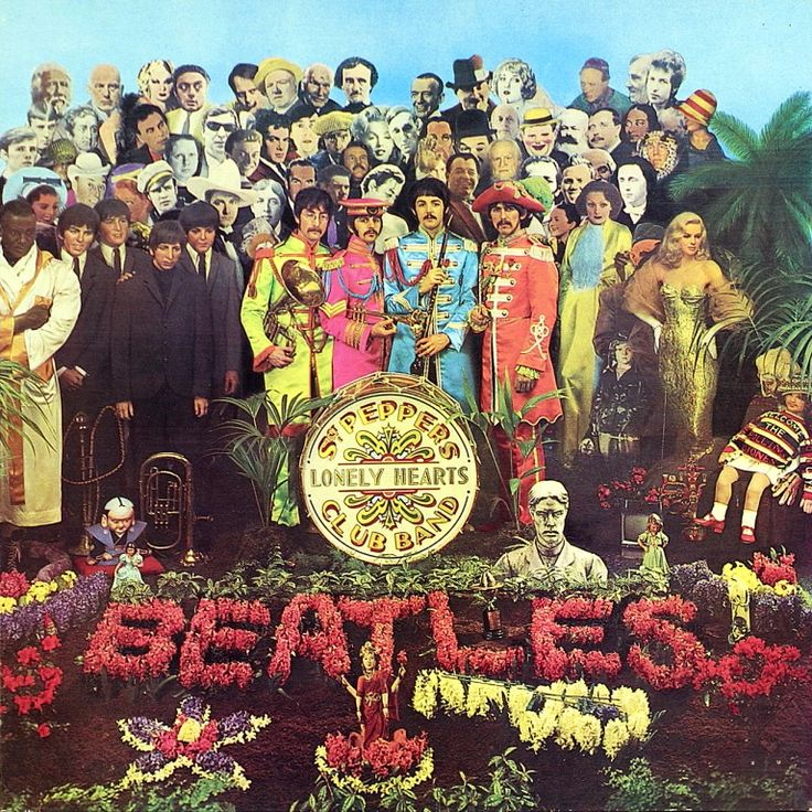 The Beatles' Sgt. Pepper's Lonely Hearts Club Band, released by EMI Records in 1967, is arguably the most famous album sleeve of all time. The image on the album cover is composed of a collage of celebrities. There are 88 figures, including the band members themselves. Pop artist Peter Blake and his wife Jann Haworth conceived and constructed the set, including all the life-sized cut-outs of historical figures. The set was photographed, with the Beatles standing in the center.