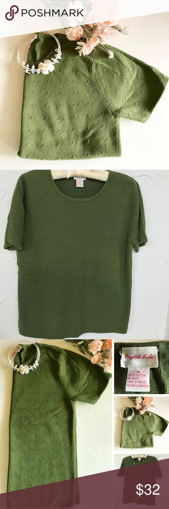 🆕 100% Cotton Sweater New Listing! 100% cotton sweater/top in a lovely shade of green. Pretty design. Versatile! Great with skirts, pants, jeans, shorts, capris… And for work or play! Gently pre-loved. Washable! Sweaters