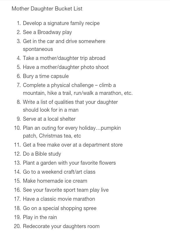 Daughter & Mother Bucket List-Pin This and ADD ON