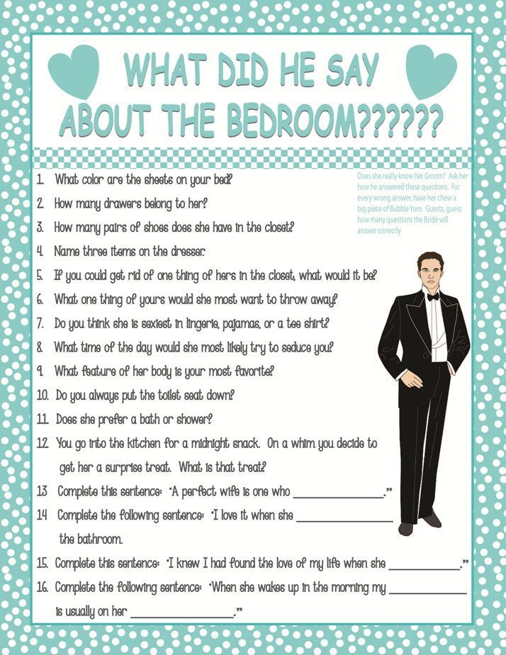 Bridal Shower What Did He Say About The Bedroom Rated G How Well Future Groom Knows His Bride