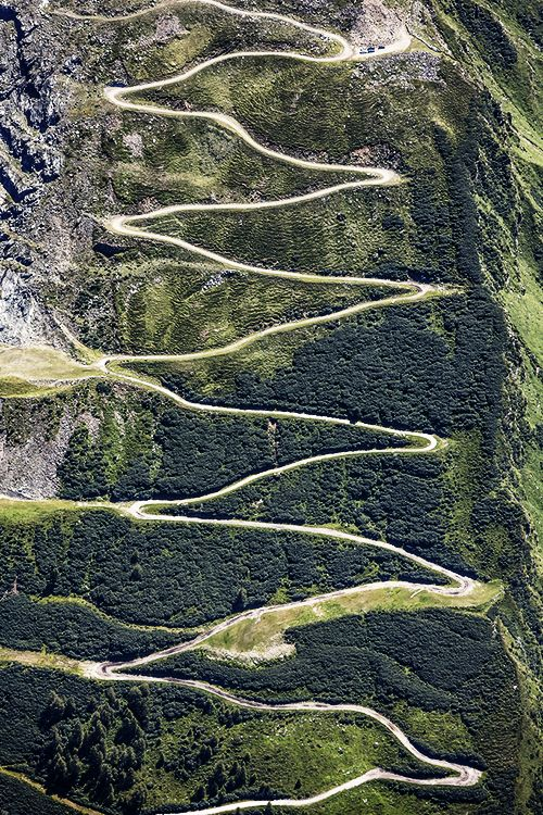 // Oberfelben, Salzburg -see the incredible mountain switchback roads that one has to drive in the high Alps.