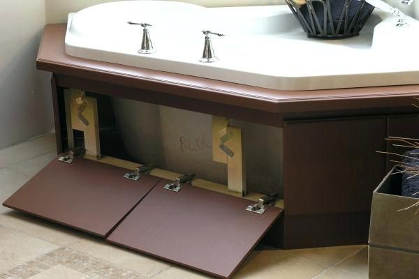 Jacuzzi Tub Access Panel Ideas Bath Tub Skirt That Opens Up For Plumbing Access Or Hidden Storage Whi With Images Corner Jacuzzi Tub Bath Panel Ideas Diy Bathtub Makeover
