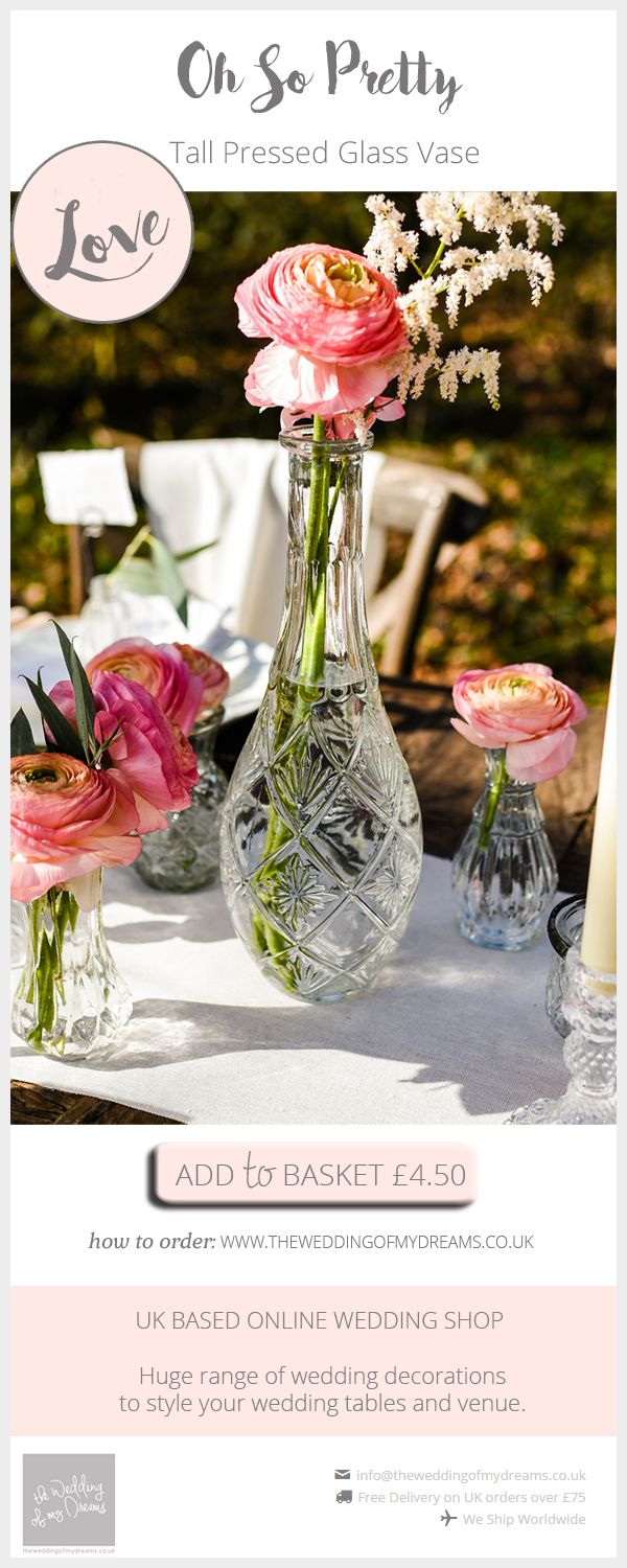 184 best wedding decor of the week images on pinterest wedding tall pressed glass vase centrepieces junglespirit Image collections