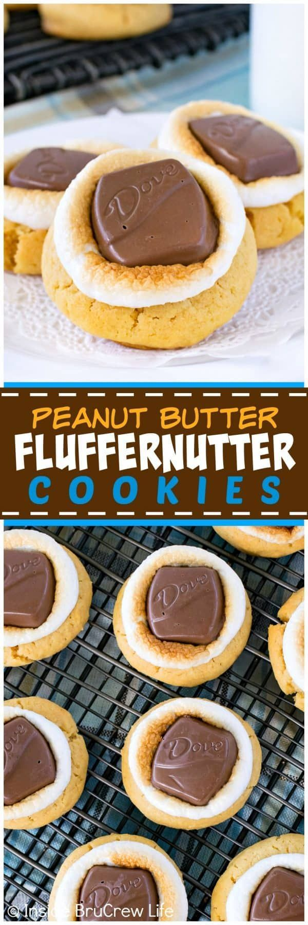 Peanut Butter Fluffernutter Cookies - soft peanut butter cookies topped with toasted marshmallows and peanut butter candy bars makes a great snack to go with milk. Easy recipe for after school or cookie jars!  #cookies #peanutbutter #marshmallow #chocolate #afterschoolsnack #cookiejar
