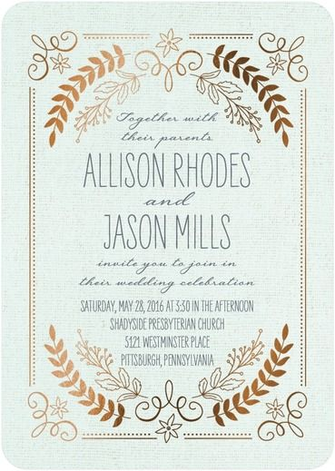 956 best wedding invitations images on pinterest wedding rustic wreaths signature foil wedding invitations sarah hawkins designs almond neutral stopboris Images
