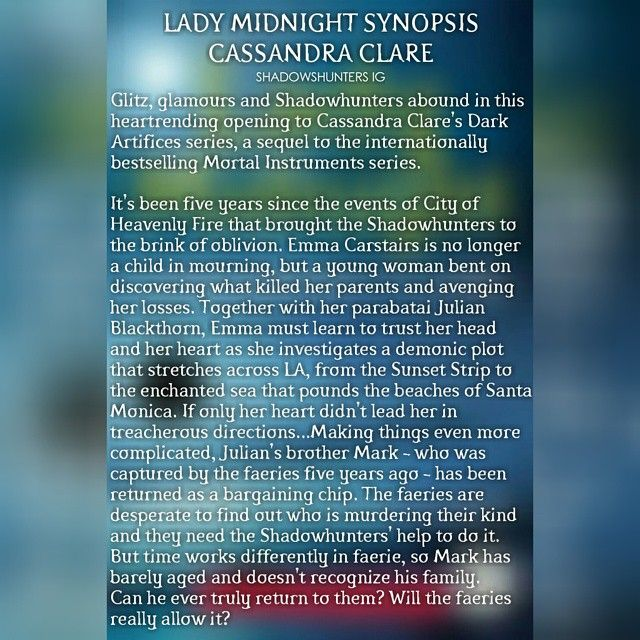 Waterstones.com has a Lady Midnight pre-order page up along with a ...