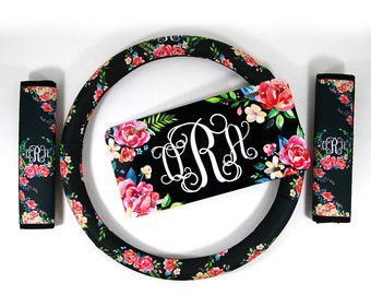 Floral Monogrammed Steering Wheel Cover Classy by ChicMonogram