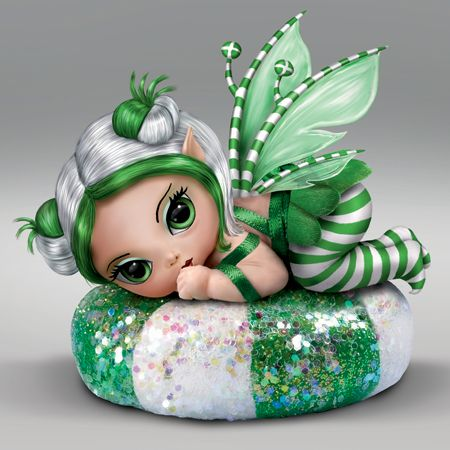 "Spearmint Sprite is the sweetest little surprise. This delightful wide eyed fairy from artist Jasmine Becket-Griffith is precious in her soft silk skirt, with wings and hair to match. These delightful treats are sure sweet!  Product Dimensions: 3 1/2"" H x 3"" W x 2 1/2"" D  Material: Hand Painted Resin with a dusting of glitter Price: $32.95"