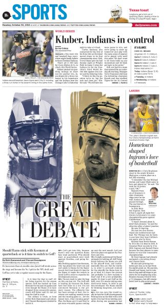 Rams QBs: The Great Debate  #News #GraphicDesign #Layout #Sports more at https://www.pinterest.com/rojasmark2/newspaper-designs-by-mark-rojas/
