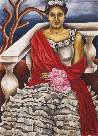 'Autorretrado' (1940) by Mexican artist Maria Izquierdo (1902-1955). Oil on masonite, 36 x 25.625 in. via Mutual Art