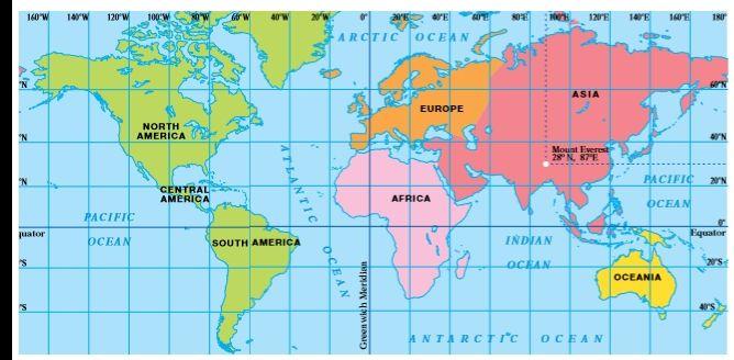 World Map Longitude And Latitude flat world map with longitude and ...