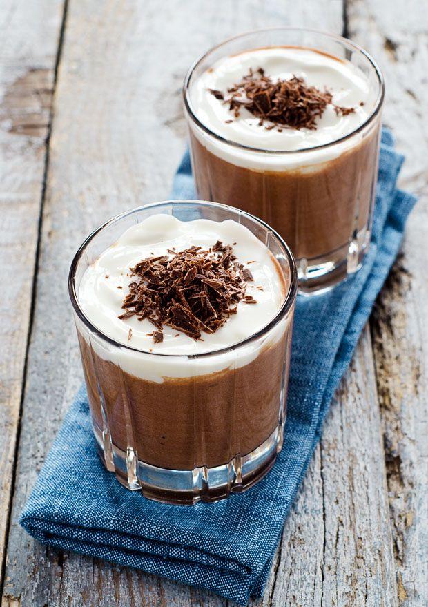 Sunday Morning Chocolate Mousse: dark chocolate, yogurt, egg whites, 2 tsp sugar-- serves 4