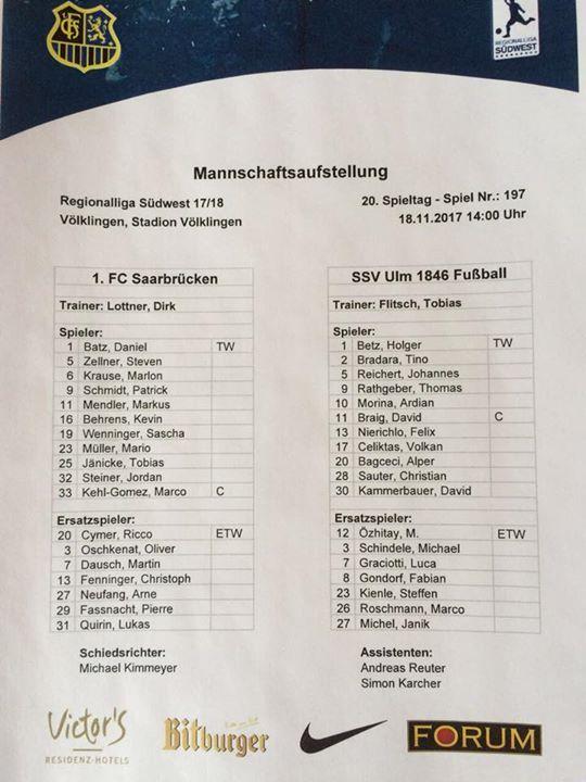 #Die #Aufstellungen #zum #Spiel #gegen #den #SSV UlmRegionalliga #Sue... #Die #Aufstellungen #zum #Spiel #gegen #den #SSV UlmRegionalliga #Suedwest, 19. Spieltag: 1. #FCS - #SSV #Ulm. #Neben Kapitaen #Manuel #Zeitz #faellt #auch ,,#Co #Marco #Holz grippekrank #aus. #Fuer #ihn #steht #Jordan Steiner #in #der Startelf! fcsssv #regionalliga  #FC #Saarbruecken / #Saarland | #Die #Aufstellungen #zum #Spiel #gegen #den #SSV UlmRegionalliga #Sue... http://saar.city/?p=77883