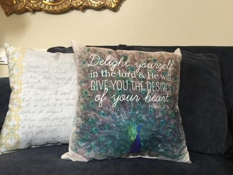 Psalm 37.4 Peacock Pillow  Psalm 37:4 is printed on a watercolored peacock with a natural vintage border. Psalm 37:4 - Delight yourself in the Lord and He will give you the desires of your heart.