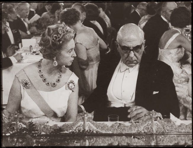 GREECE CHANNEL   Famous Greek poet Georgios Seferis with Princess Sibylla of Sweden when he won the Nobel Prize.