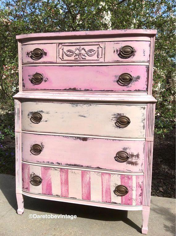 Vintage Pink Dresser Painted Pink Dresser Vintage Highboy #shabbychicdressersdiy #shabbychicfurniture #shabbychicdressersvintage