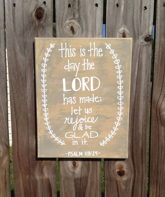 Bible Verse Canvas Art Hand Lettered Tan Grey an White by HisTenPercent on Etsy. 10% of every purchase goes to those in need! This is the day The Lord has made