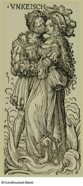 """Hans Burgkmair d. Ä. Augsburg 1473–1531 Augsburg Vnkeisch (die Unkeuschheit), gegen 1510 Blatt 3 der Folge """"Die sieben Laster"""