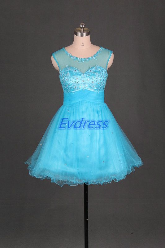 Short blue tulle homecoming dress with sequins2014 by Evdress, $95.00