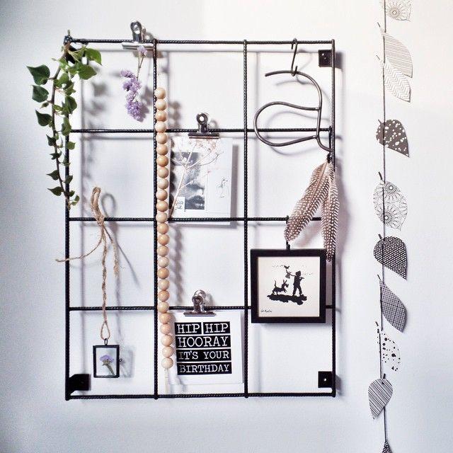 Wanddecoratie Keuken : Zwart wandrek met afstandhouders, 3 clips en 5 zwarte haakjes. Voor de