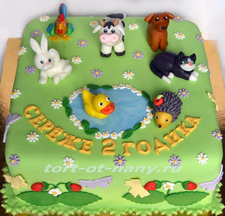 Торт с коровой, кошкой, собачкой, зайчиком, ежиком, уточкой и петухом