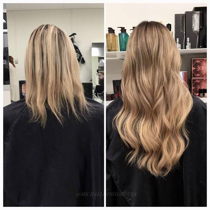 Vi sätter in en fyllig hårförlängning från Rapunzel of Sweden och gör färgen lite varmare och något mörkare. Så snyggt!  #rapunzelofsweden #hairextensions #goldblonde #kerastase #fusiodose
