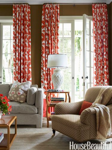 Curtain fabric in a starfish-and-coral pattern by Zimmer + Rohde.