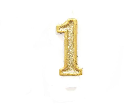 Gold Glitter Number 1 Birthday Candle By Pelemele