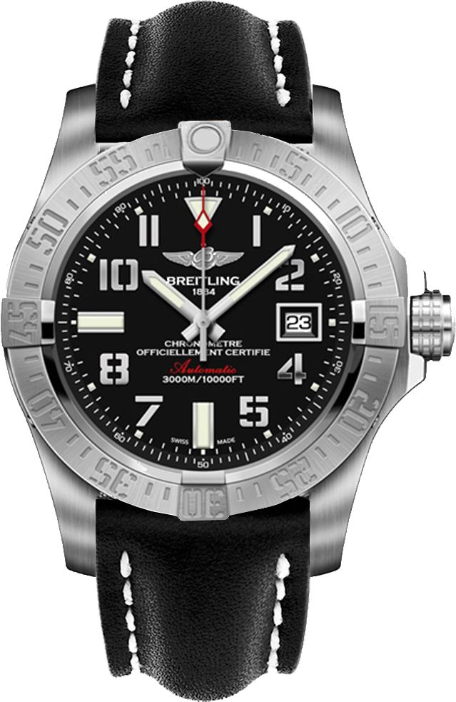 Breitling Avenger II Seawolf Men Black Dial Leather Strap Watch A1733110/BC31-435X Free Overnight Shipping