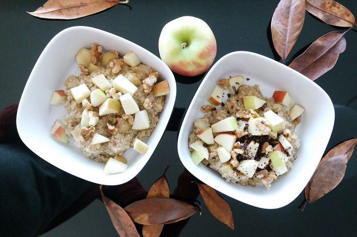 Gesundes Clean Eating Frühstück mit Quinoa, Walnuss und Apfel.