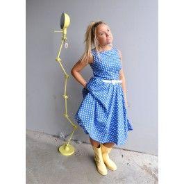Blå dots swingkjole fra landromantikk