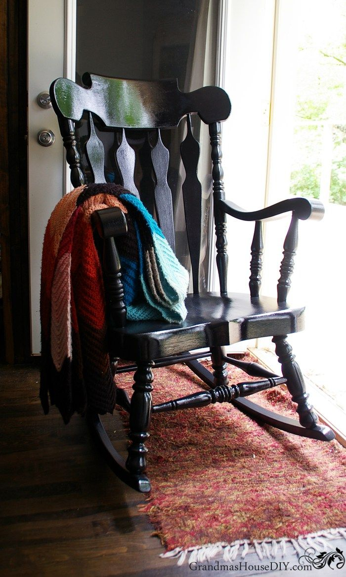 Black Painted Rocking Chair Goes From Dated To Stunning