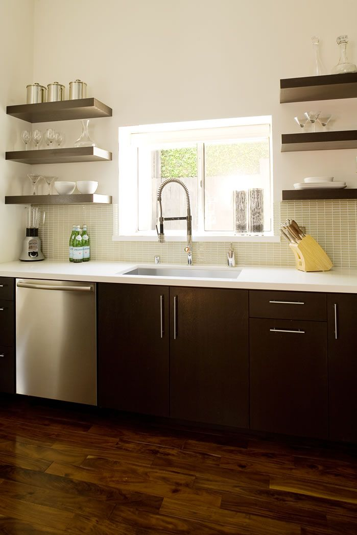 Shelves instead of upper cabinets favorite places for I kitchen cabinet