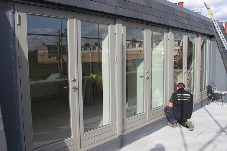 New engineered wood French doors RAL7030 'Stone Grey'