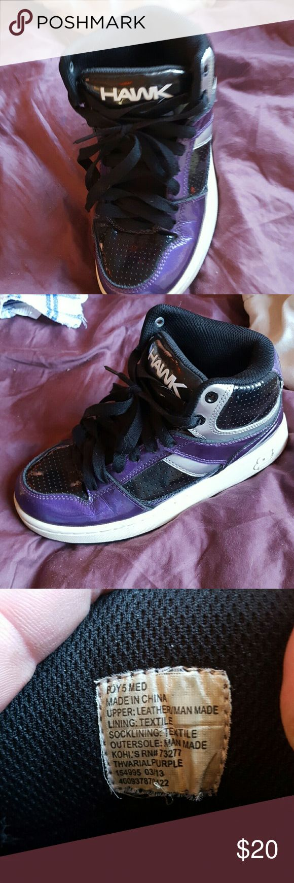 Tony Hawk skate shoes Great condition not other than normal creasing from wear. Shiny black and purple vinyl like material.  Old school look Hawke & Co Shoes Sneakers
